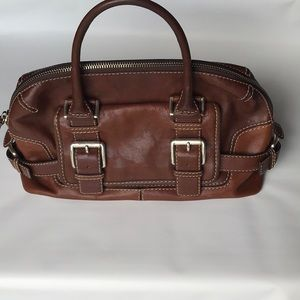 Michael Kors brown leather shoulder handbag purse